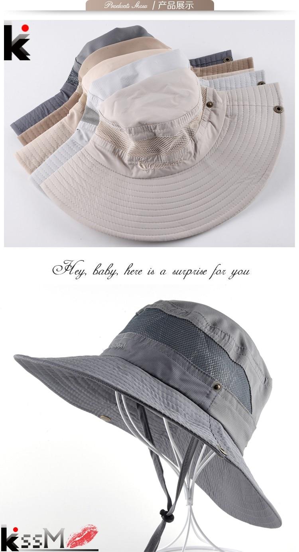 Men s Bob Summer Bucket Hats Outdoor Fishing Wide Brim Hat UV Protection Cap  Men Hiking Sombrero Outdoor Gorro Hats For Men a8b6445bd96