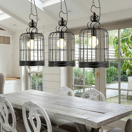 Loft iron lanterns pendant lights retro Restaurant Bar Cafe hone lighting lamp industrial wind black cage pendant lamps ZA new loft vintage iron pendant light industrial lighting glass guard design bar cafe restaurant cage pendant lamp hanging lights