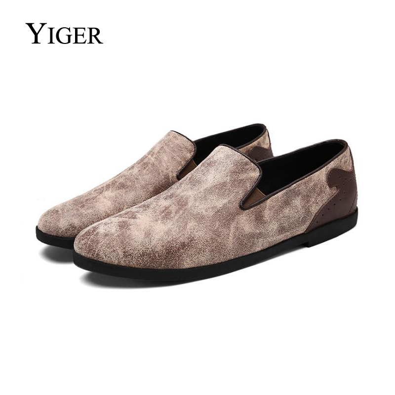 YIGER NEW Spring Mænds Loafers Casual Shoes England Low-Cut Mousesko - Mænds sko