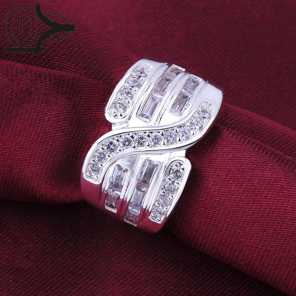 Christmas Gift Wholesale Silver-plated Ring,Silver Fashion Jewelry,Women&Men Gift Three Lines Stone S Shaped Silver Finger Rings