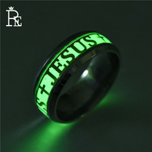 RE 8mm Luminous Ring for Men Women Jesus 316L Stainless Steel Gold Silver Color Rings