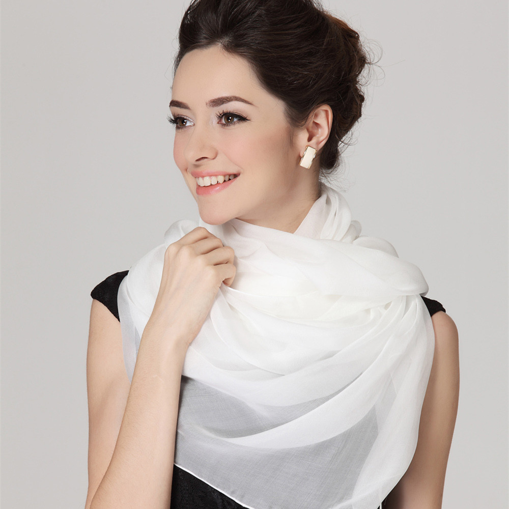 Fashion Beautiful Solid Color Pure White Infinity Chiffon Scarf Women Children Scarves Soft Smooth LIght Flowing Silk Scarf