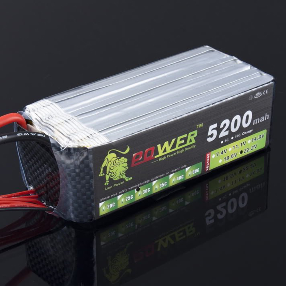 LION POWER Lipo Battery 22.2v 5200mAh 6S 30C Lipo Battery RC Helicopter RC Car Boat Quadcopter Remote Control Toys Parts