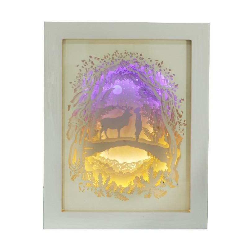 Wilskrachtig Licht En Schaduw Papier Lamp 3d Diy Nachtlampje Droom Herten Nachtkastje Lamp Voor Slaapkamer Carving Art Licht Gift Knappe Verschijning