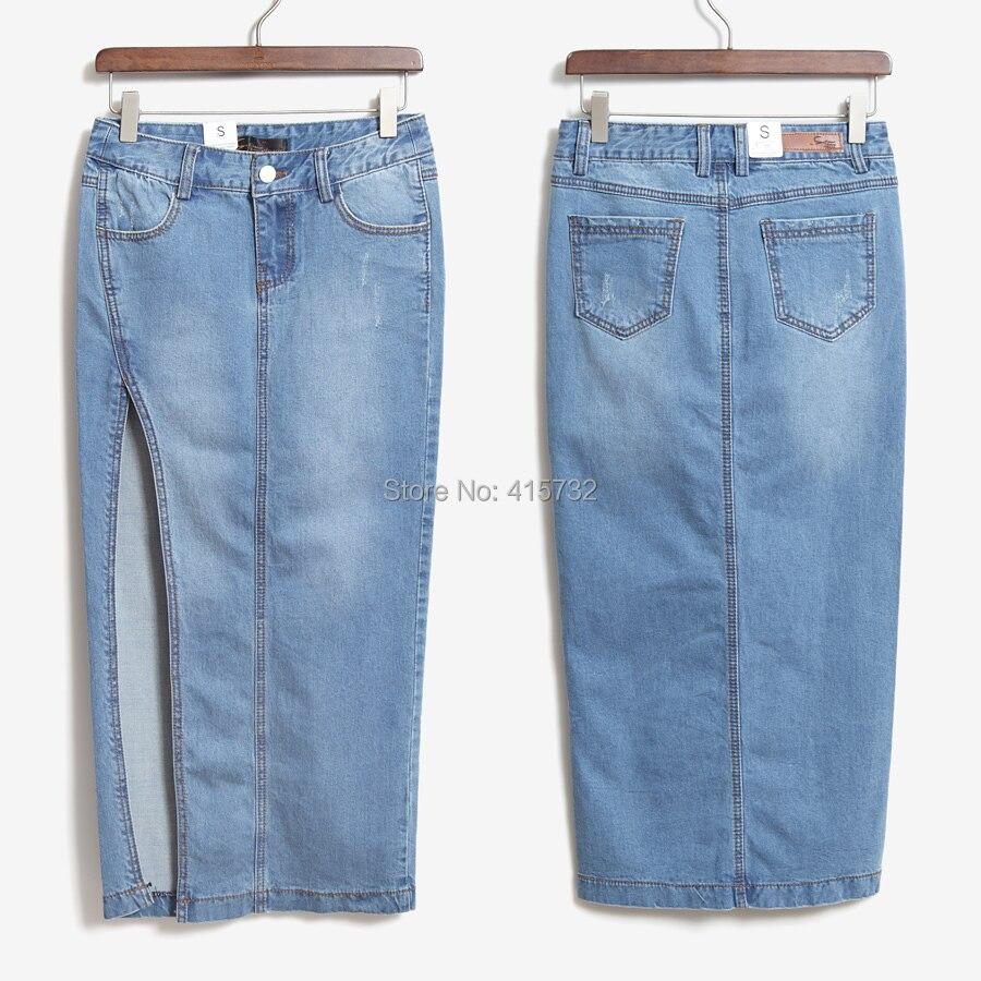 Doprava zdarma 2017 New Denim Jeans Ženy Sukně Vysoký pas Placketing Sexy Slim Hip Tužka Stretch Sukně Letní Boční Slit Sukně