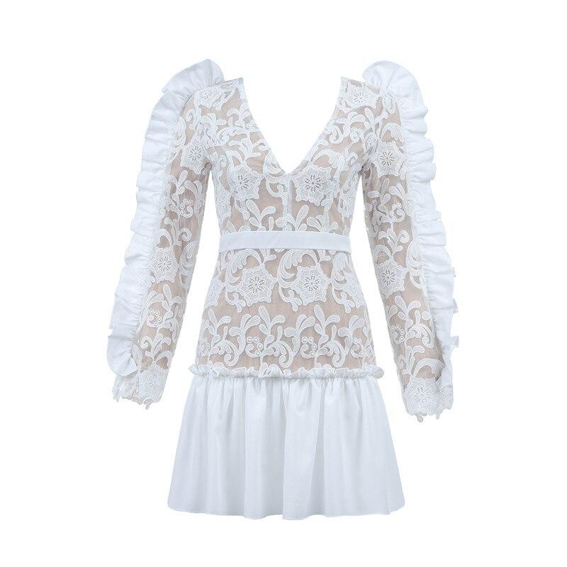 Robe Apricot Celebrity Femmes Longues Dentelle De Mode Partie V Wear Cou Street Luxe Soirée Manches Mini f7vyYgb6