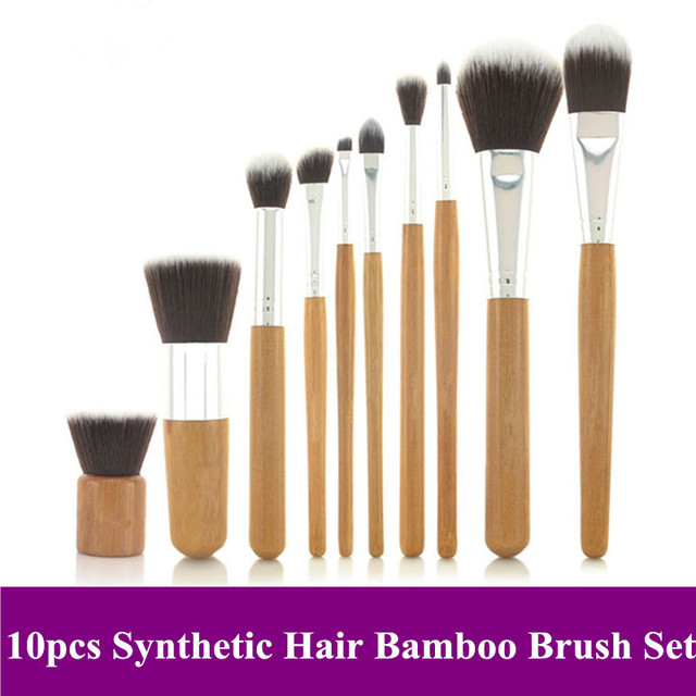Free shipping! 2013 New Arrival Pro 10 pcs Nylon synthetic hair natural bamboo handle makeup Brushes sets Kits flax pouch bag