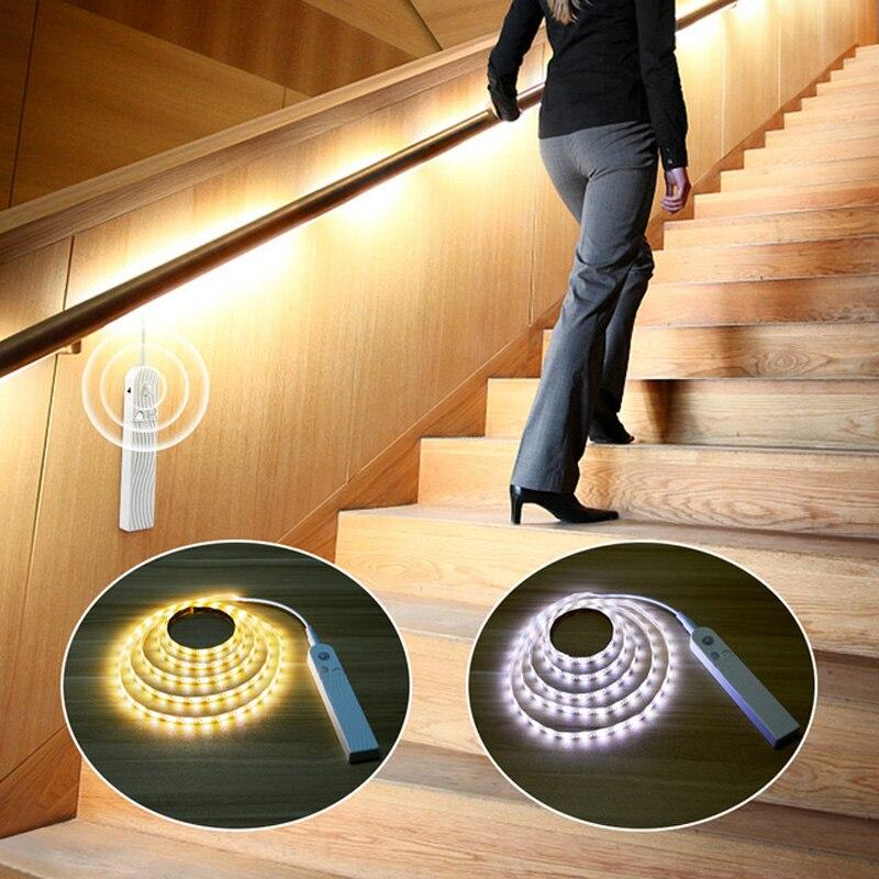PIR Motion Sensor LED Light DC 5V Tape Battery Or USB Port Powered Movement Detection Waterproof Cabinet Lamp Closet Kitchen(China)
