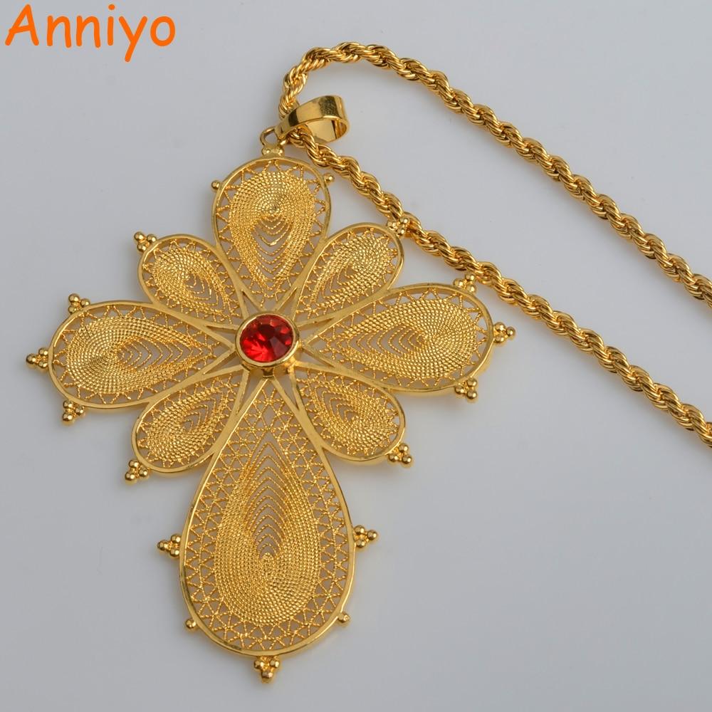 Anniyo Ethiopian Big Cross Pendant Necklaces for Women Gold Color & Copper Eritrea Jewelry Africa Ethnic Bigger Crosses #003016