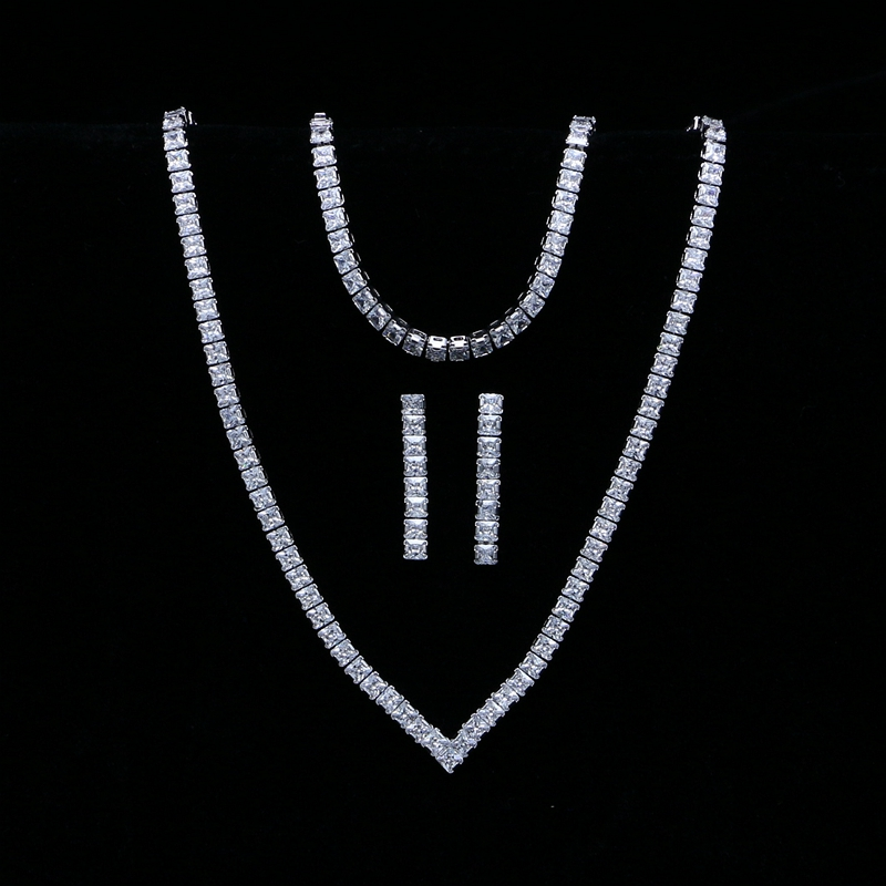 Square White Cubic Zirconia Jewelry Sets Silver Color Bridal Jewelry For Women Wedding Bracelet Pendant Earrings Necklace Sets