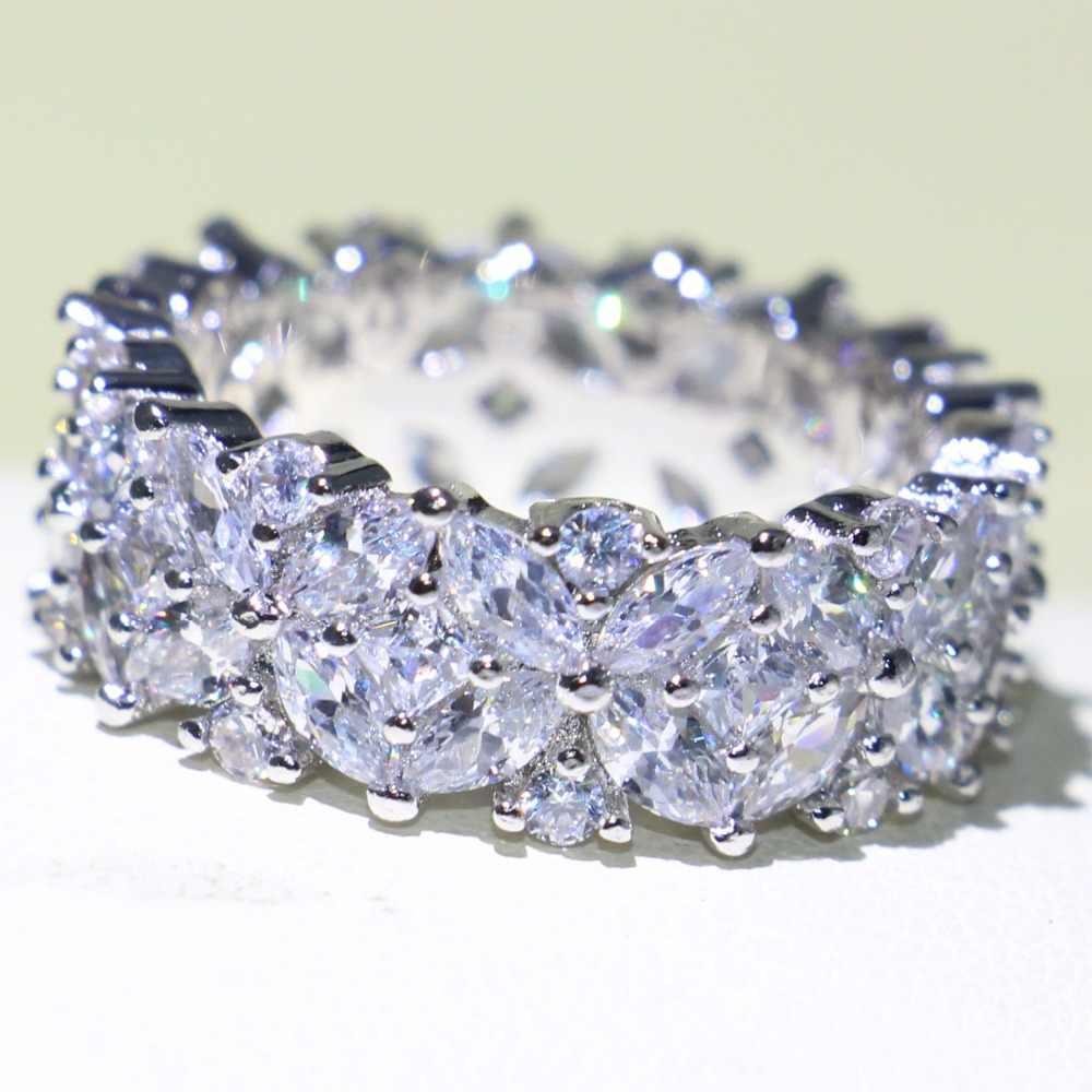 ยี่ห้อใหม่ประกายเครื่องประดับ Full Marquise 5A Zirconia 925 เงินสเตอร์ลิงงานแต่งงานดอกไม้แหวนผู้หญิงของขวัญ