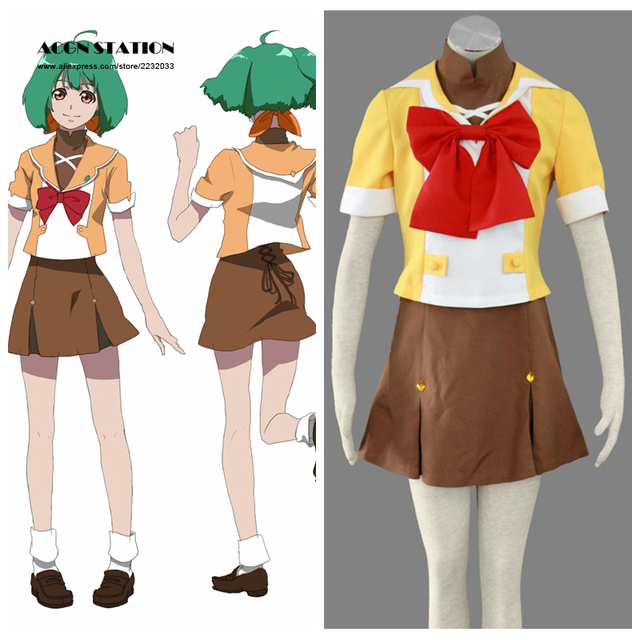 2018 Free Shipping Top Selling Macross Frontier Anime Mihoshi Academy  Matsuura Nanase Uniform Halloween Cosplay Yellow