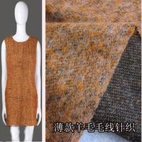Customized 145cmwidth Orange Elastic Wool Knitting Satin Chiffon Silk Gauze Cloth Fabric Shirt Coat Skirt Scarf