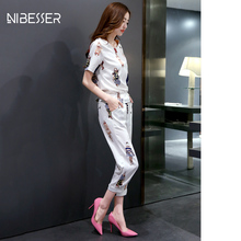 NIBESSER 2017 summer women's sets tracksuit short sleeve printed T-Shirts &capris Pants Female Two Piece Set suits z30