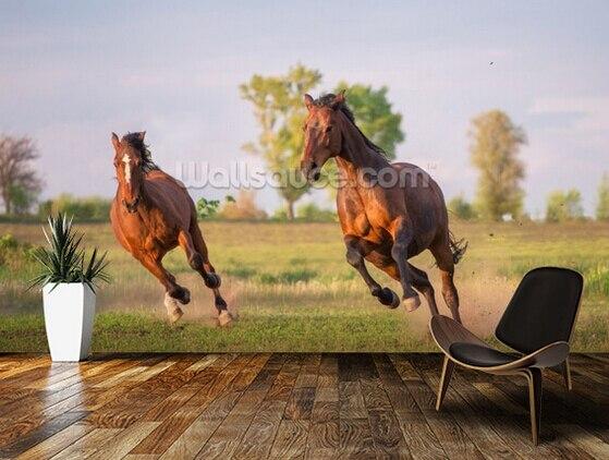 Papier peint photo personnalisé, 3D cheval gratuit course murale pour la chambre salon cuisine fond mural mur étanche PVC papier peint