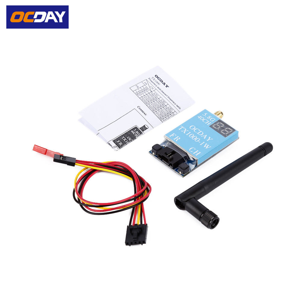 1 pcs D'origine Ocday marque FPV 5.8G 40CH TX1000 1000 MW 7-26 V Sans Fil AV Émetteur Image