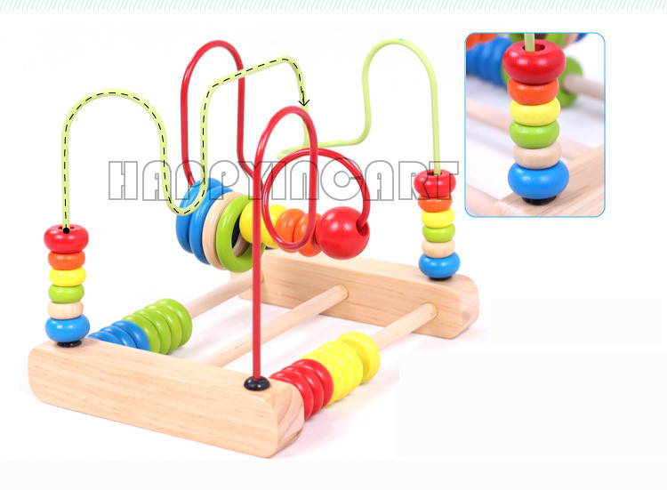 Tactile Learning Toys : Wooden activity cube beads maze puzzle abacus children
