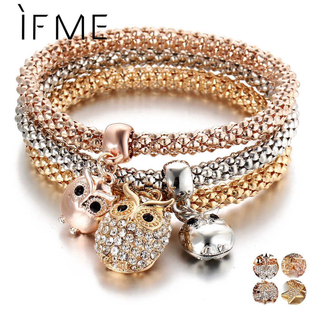 IF ME 3 st / set Crystal Owl Crown Metal Charm Armband & Bangles Rose Gold Color Elephant Heart Pendant Rhinestone Armband Women