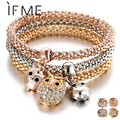 IF ME 3 Pcs/Set Crystal Owl Crown Metal Charm Bracelets&Bangles Rose Gold Color Elephant Heart Pendant Rhinestone Bracelet Women