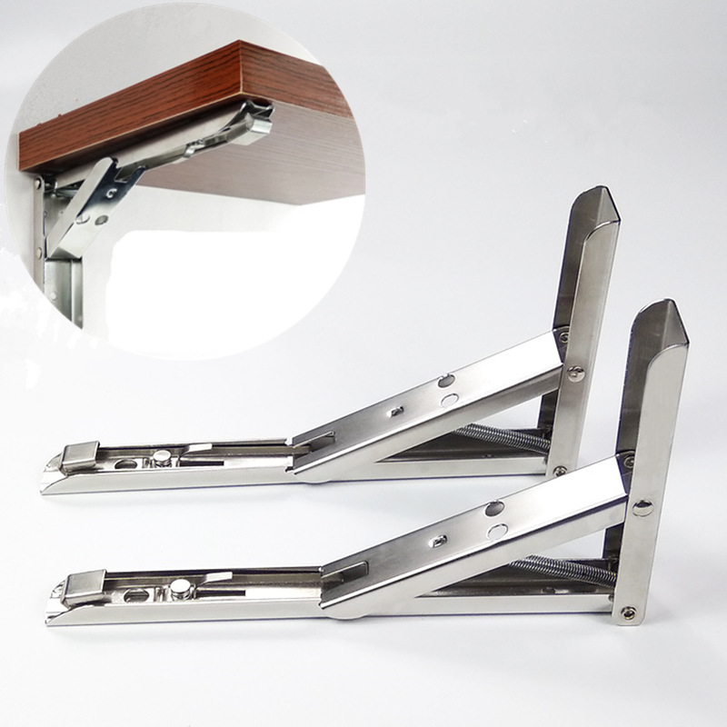 цена на 2pcs Triangular Stainless Steel bracket folding 90 degree wall bracket shelves Wall hanging Rack Hardware furniture accessories