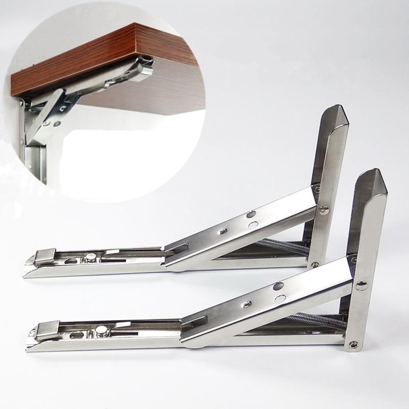 2pcs Triangular Stainless Steel bracket folding 90 degree wall bracket shelves Wall hanging  Rack Hardware furniture accessories