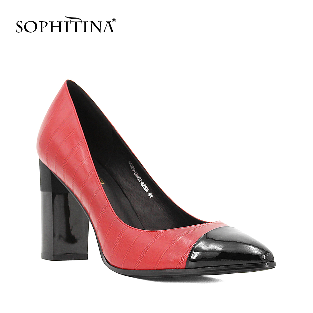 SOPHITINA Elegant Lady Pumps Sexy Pointed Toe High Heels Shallow Pumps High Quality Genuine Leather Party
