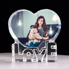 Customized Love Heart Crystal Photo Frame Personalized Picture Frame Wedding Gift for Guests Birthday Souvenir Father's Day Gift