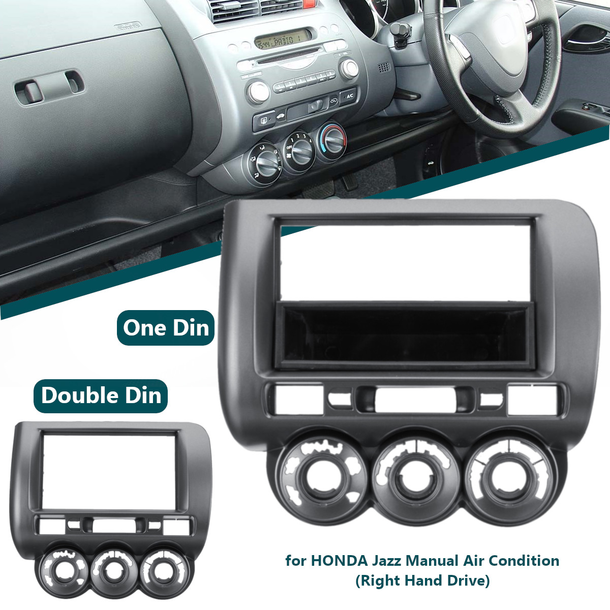 1 or 2 Din Car Stereo Radio Fascia Panel Plate Frame CD Stereo Panel Mount Installation Trim Kit for Honda Jazz Right Hand Drive striped trim fluffy panel bomber jacket