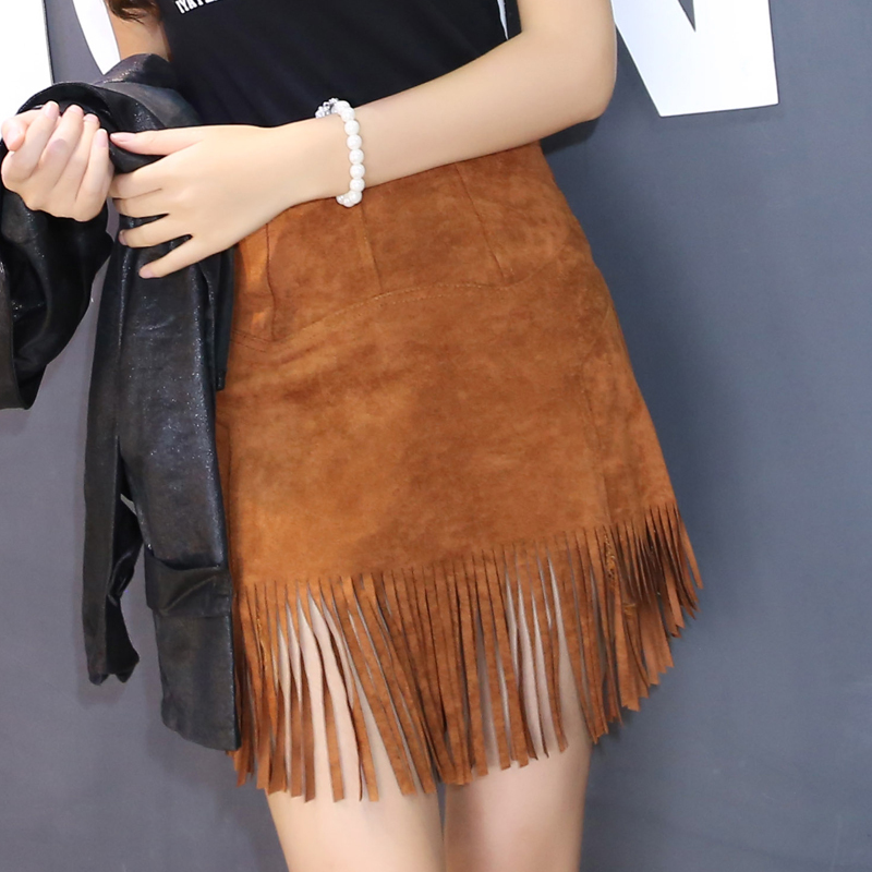 Autumn Women Fashion Pencil Skirt Slim Fit Black Brown Fringe Faux ...