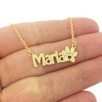 cdabe6382da1 Rosa nombre personalizado oro declaración collar mujer BFF joyas de acero  inoxidable Pawprint collar Bijoux Femme Kolye