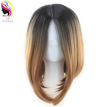 Feibin Short Wigs For Women Synthetic Straight Ombre Blonde Bobo Hair D7