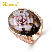 Free Shipping 2013 New High Quality 18K Gold Plated Beautiful Big Larpwork Glass Flower Ring Pink Stone Woman