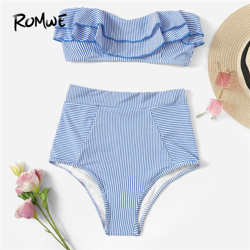Romwe Bikinis-Set Suits Beachwear Bandeau Blue Two-Pieces Striped Sport High-Waist Women