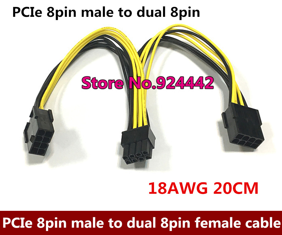 DHL/EMS PCI-E PCI Express Graphics Video Card GPU 8Pin male to Dual 2x 8Pin female Splitter Power Y Cable Cord 18AWG кабель orient c391 pci express video 2x4pin 6pin