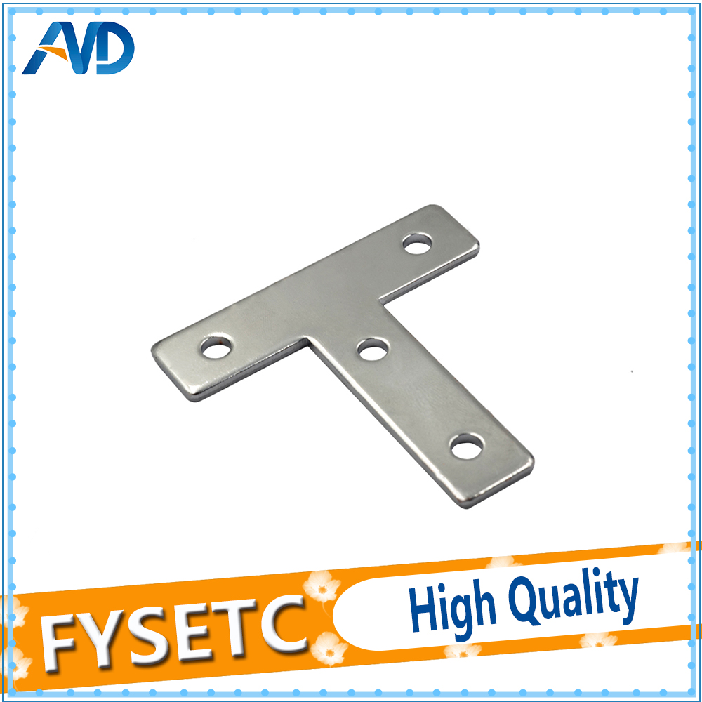 5 Pcs Angle Plate Corner Brace Flat T Shape Repair Bracket 60mmx60mm For Aluminum Profile 2020 20x20 With 4 Holes