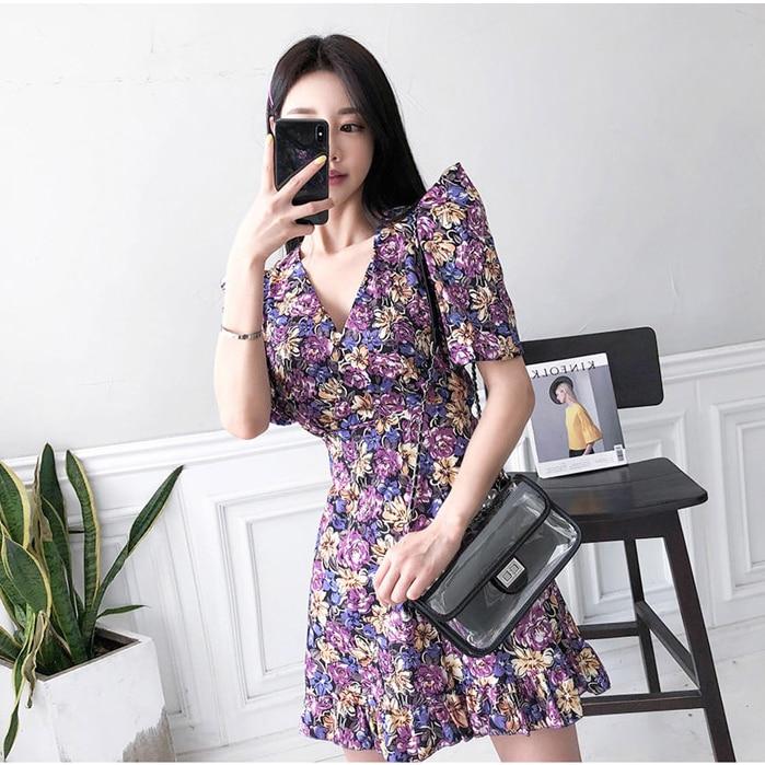HTB109w5XgKG3KVjSZFLq6yMvXXaq - Summer V-Neck Short Sleeves Floral Print Mini Dress