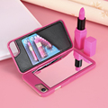 Mulheres maquiagem espelho case para iphone 7 7 plus capa de luxo carteira titular capa para iphone 7 cardslot case acessórios fundas coque
