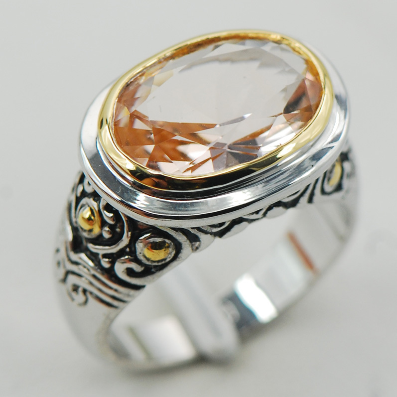 Morganite Women 925 Sterling Silver Ring F936 Size 6 7 8 9 10
