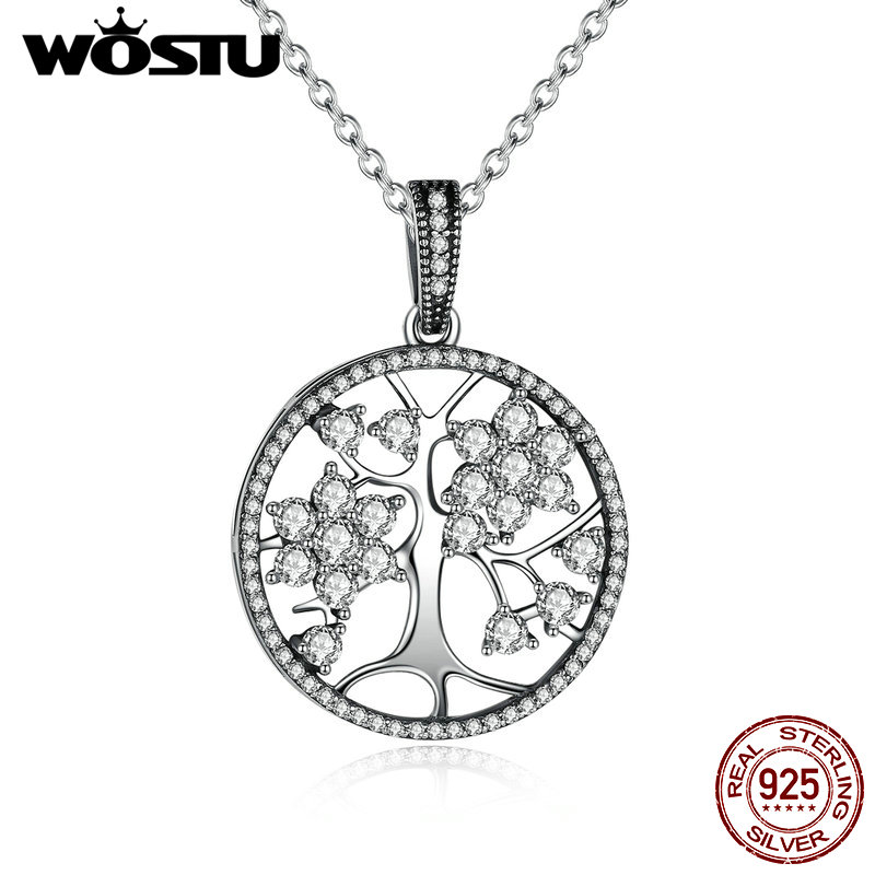 цена на Aliexpress Hot Sale 100% Real 925 Sterling Silver Family Tree Pendant Necklaces For Women Fine Jewelry Gift CRN013