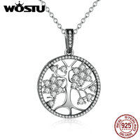 Aliexpress Hot Sale 100% Real 925 Sterling Silver Family Tree Pingente Colares Para As Mulheres Fine Jewelry Presente CRN013