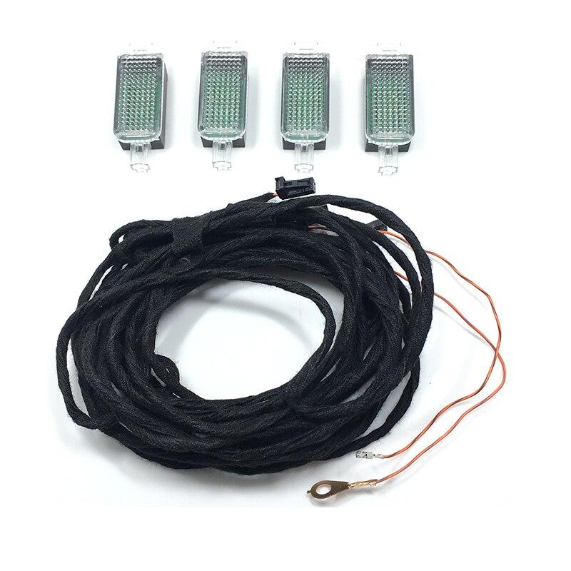 D'origine 4 PCS LED Intérieur Footwell Lumières et Câble Pour Golf Jetta MK5 MK6 Passat B6 B7 Tiguan Octavia Leon 3AD 947 409