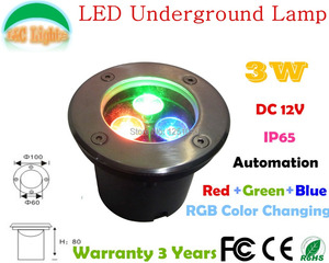 3W LED Underground Lamp,12V Landscape Lighting,IP65 Outdoor Lighting,3 Years Warranty,Automation Color Changing Underground Lamp