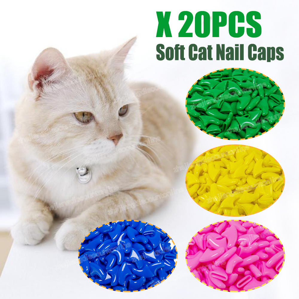 20 Pcs New Blister Card Anti-scratch Silicone Soft Cat Nail Caps Cat Paw Claw Nail Protector With Applicator And Free Glue #4