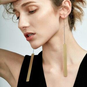 Enfashion Wholesale Vintage Long Bar Earrings Drop Earring Matte Gold color Earings Stainless Steel Earrings For Women Jewelry