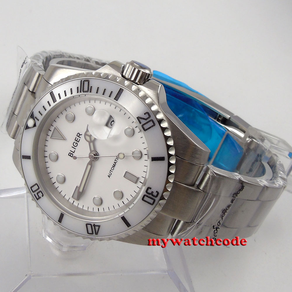 40mm Bliger white dial sapphire crystal automatic movement mens womens watch66 цена и фото