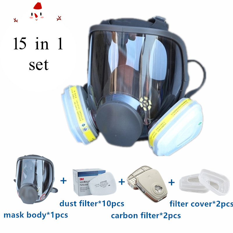 15 In 1 Full Face Gas Mask Respirator Painting Spraying Organic Gas Double Carbon Filters Industrial