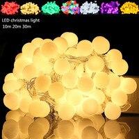 1 шт. 10 м 20 м гирлянда светодиодная водонепроницаемая лампа ЕС 220 В Свадебная вечеринка сад Рождественский светодиодный шар гирлянда праздни