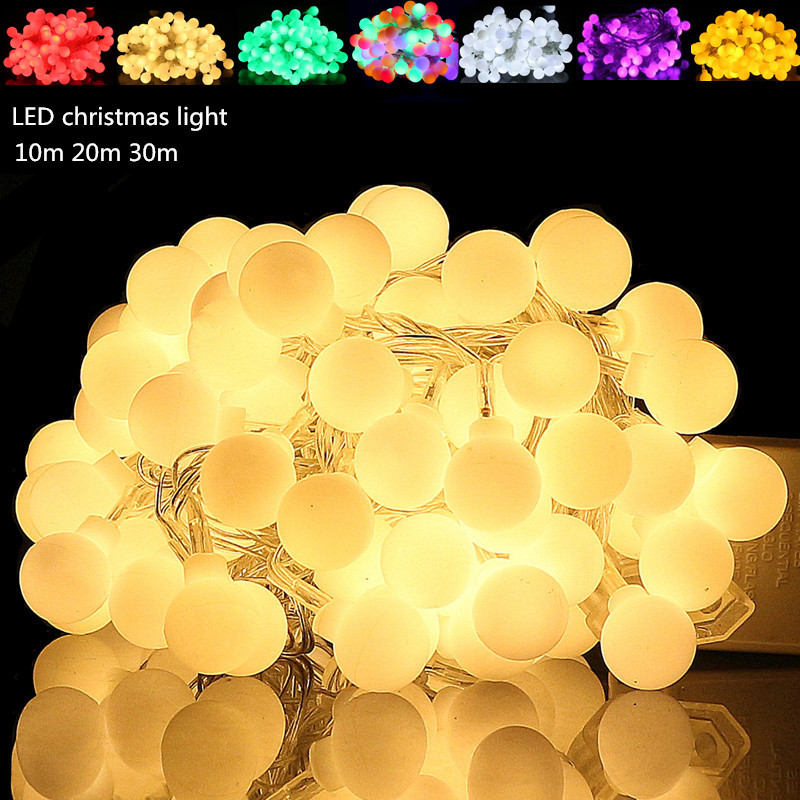 10pcs 10m 20m Waterproof LED String Light EU 220V Wedding Party Garden Xmas led ball String holiday Light Outdoor led lamp bulb 20pcs bulb string light