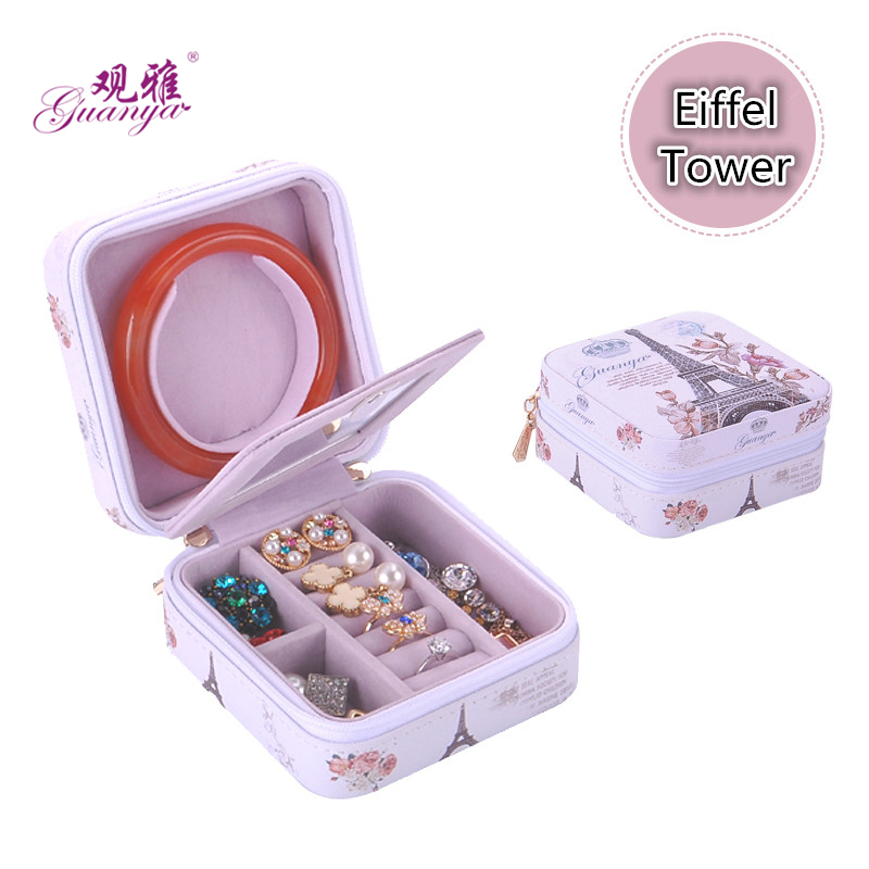 High-grade leather jewelry sets box Jewelry display Many color wholesale gift box makeup organizer cosmatic box 2017 new style