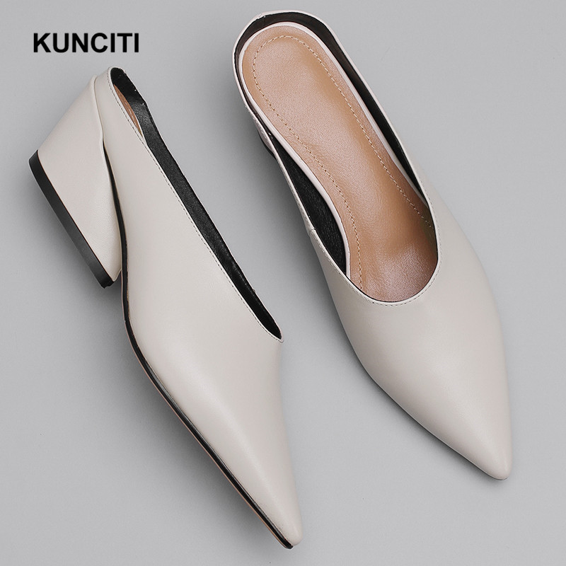 2019 Newest Style Women Leather Slippers Pointy Toe Ladies Scuffs Fashion Mules Shoes Genuine Leather Women Shoes Lady T915